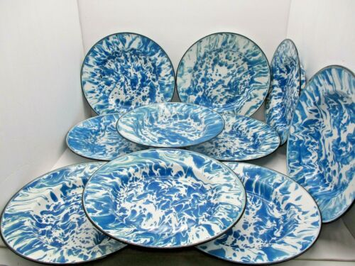 10 Vintage Blue and White Enamelware Splatter Ware Bowls
