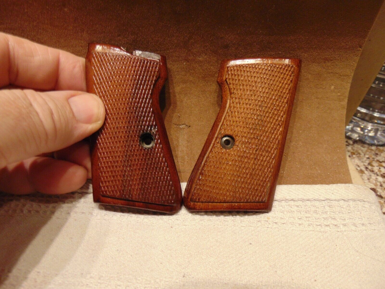 WOOD CHECKED PISTOL GRIPS MADE IN ITALY - $22.50