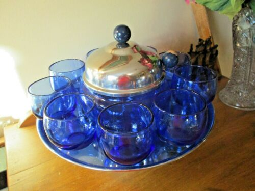 HAZEL ATLAS ROYAL LACE COBALT BLUE CHROME TODDY SET W/8 TUMBLERS