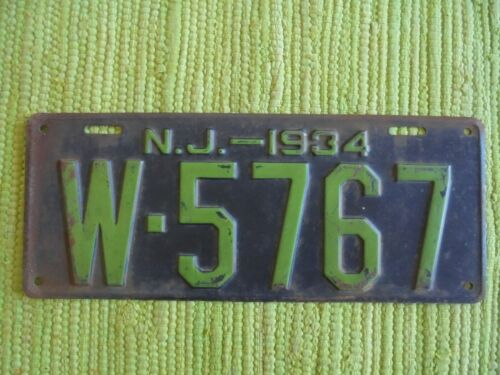 1934 New Jersey License Plate NJ 34 Tag W-5767