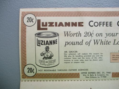 """PIC 1960 BLACK AMERICANA """"LUZIANNE"""" Coffee,Chicory coupon New Orleans Louisiana!"""