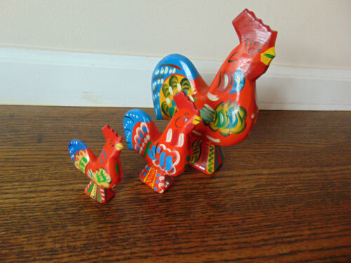 VINTAGE THREE Swedish Dala Akta Dalahemslojd Hand Painted Sweden Wooden Roosters