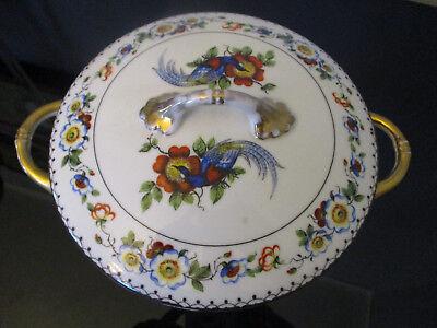 Antique Vintage Czech Bird of Paradise Floral Gold Gilt Covered Casserole Tureen