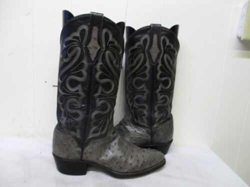 EL, DORADO, Handmade, Gray, Full, Quill, Ostrich, Cowboy, Boots, Mens, Size, 8, D, Style, 9292