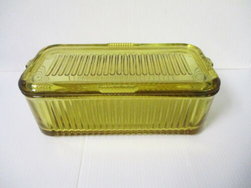 """AMBER DEPRESSION GLASS REFRIGERATOR BOX BY FEDERAL GLASS CO 8 1/2"""""""