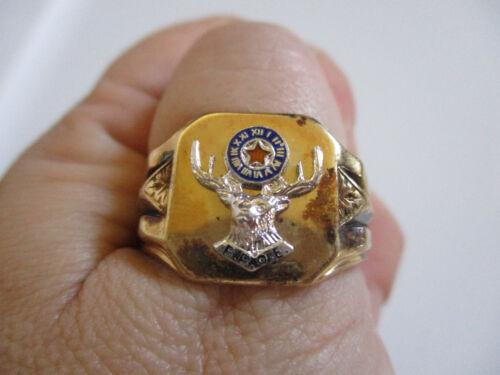 vintage 1950 F.O.E. Fraternal Order of Elks Membership Ring 7 NOS