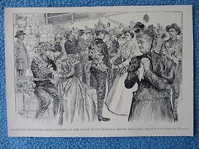 1899 Spanish American War Print- California Volunteers Saying Bye, San Francisco