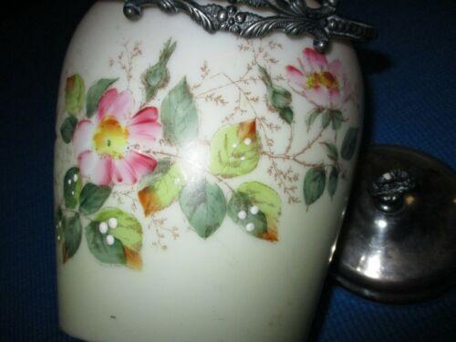Antique Victorian Hand Painted Satin Glass Biscuit Jar.