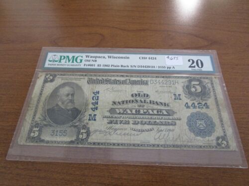 Large Size Wisconsin National Currency $5 Note Old NB Waupaca PMG 20