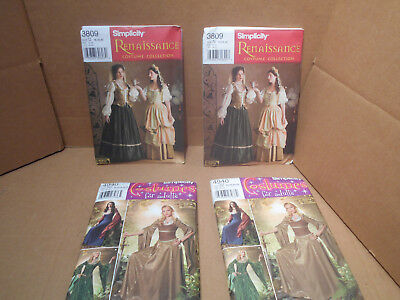 Simplicity Costume Patterns for Adults Sewing 3809 & 4940  RENAISSANCE - Patterns For Renaissance Costumes