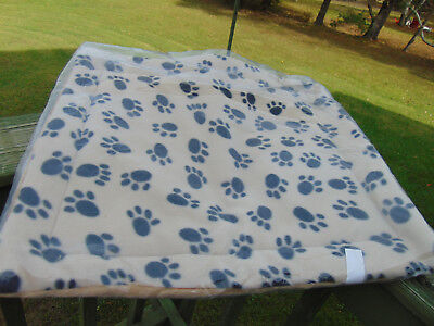 Dog Puppy Blanket Bed Paw Prints Pet Cushion Pad Mat Small Faux Fur Cat Thermal