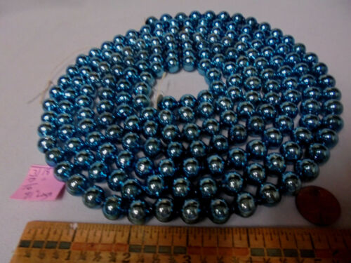 "Christmas Garland Mercury Glass Blue 91"" Long 7/16"" Beads 3118 Vintage"