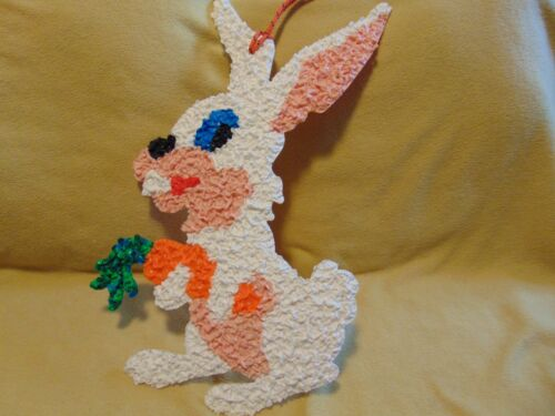 Melted Plastic Popcorn White Easter Rabbit w/ Carrot Spring Vintage Decoration
