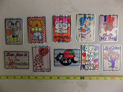 Vintage 80's Prismatic Prism Stickers Lot of 10 Rare Set Hearts Animals Love #2
