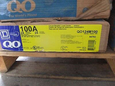 Square D 100 Amp Main Breaker 120240 Volt 24 Circuit Load Center- E2296- New