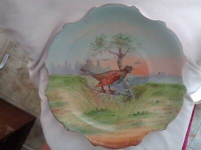 Victoria Austria Hand Painted  Crown Mark  Game Bird Table Center Piece/Bowl
