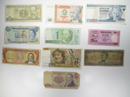 Circulated Currency Lot of 10 Mixed World Banknotes Paper Money Collection