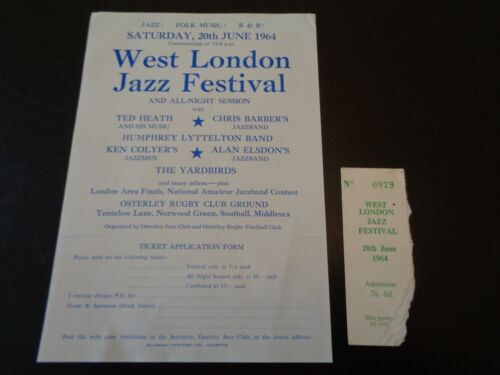 THE YARDBIRDS /ERIC CLAPTON TICKET AND HANDBILL OSTERLEY JAZZ CLUB 20 JUNE 1964