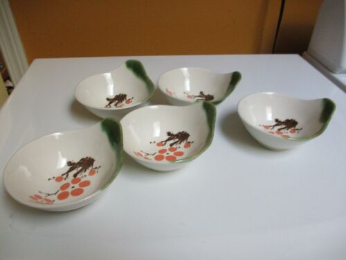 5-  Vintage Japanese Rice Soup Bowls Handle Small Peach Blossom Green Garden
