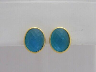 Vintage Gold Tone Blue Frosted Glass Cabochon Clip Earrings #4449
