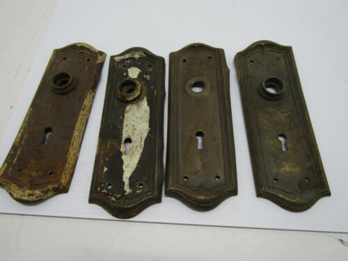 A 4 OLD ANTIQUE METAL DOOR PLATES BACKPLATES ORNATE HARDWARE PLATE