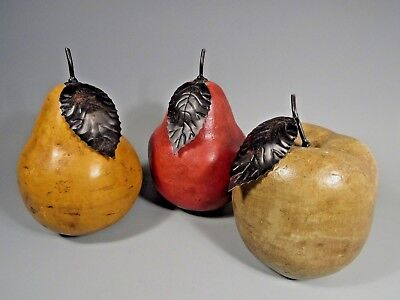 RARE Lot of 3 Mixed Material Monumental Size 2 Pears & Apple ca. 20th century