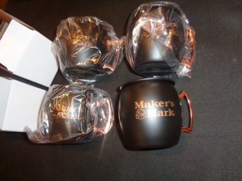 4 MAKERS MARK WHISKEY TIN MUGS CUPS NEW IN BOX WHISKEY ADVERTISING BARWARE GLASS