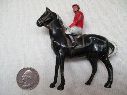 VINTAGE METAL JOCKEY ON HORSE - THOROUGHBRED HORSE RACING