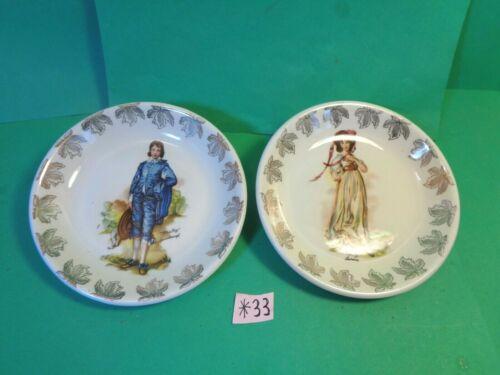 "Blue Boy & Pinky 4 3/8"" Plates, Wood & Sons, Burslem England (Used/EUC)"
