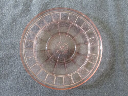 JEANNETTE PINK DEPRESSION GLASS DORIC PATTERN SAUCER SET OF 4