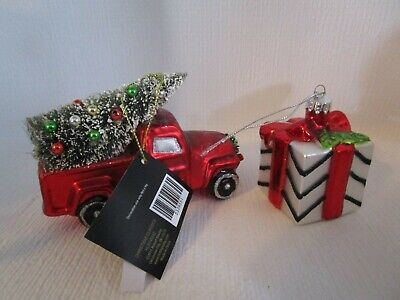 Red Pickup Truck With Bottle Brush Tree & Gift Box Glass Christmas Ornaments
