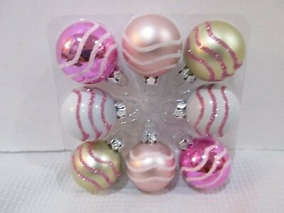 Shabby Chic Baby Girls Christmas Glitter MINI Ball Pink Ornaments 1.25