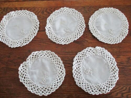 """5 Hand made 7"""" ROUND Crochet Lace and Linen Doilies  Monogram S. Crocheted t Hem"""
