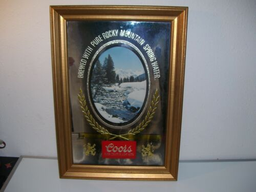Vintage Coors Beer Sign mirrored waterfall 1970