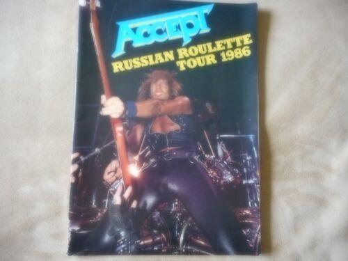 """ACCEPT """"RUSSIAN ROULETTE TOUR 1986"""" TOUR BOOK 22 PAGES NEAR MINT"""