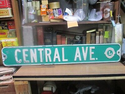 "metal city street sign CENTERAL AVE steel green original retired TOWN 36"" LIONS"