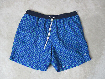 Nautica Swim Trunks Shorts Adult Extra Large Blue White Sailing Beach Pool Mens