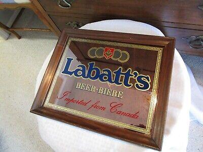 """Vintage Labatt's Beer Mirror Sign Labatt Beer Wooden Frame 17"""" x 14"""" Nice"""