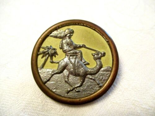 LARGE Antique CAMEL RIDER on Landscape VICTORIAN Picture CLOTHING BUTTON