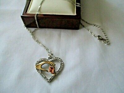 SILVER GOLD COSTUME CRYSTAL MOTHER CHILD HANDS PENDANT CHAIN NECKLACE for sale  Shipping to South Africa