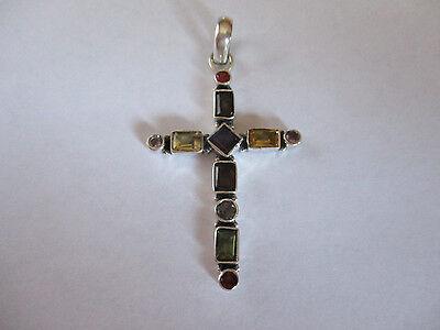 Sterling Silver Cross Pendant Amethyst Peridot Citrine Blus Topaz Garnet 2 1/4  Amethyst Garnet Silver Pendant