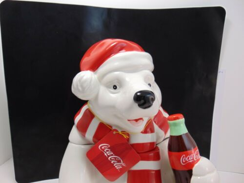 Coca-Cola Holiday Polar Bear Cookie Jar Ceramic , NEW NO BOX