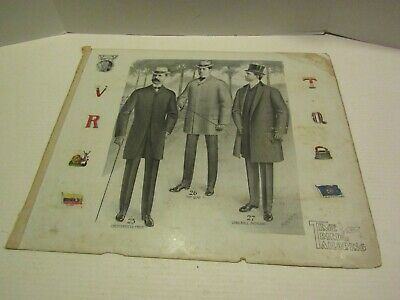 ANTIQUE VICTORIAN ADVERTISING PAPER CARDBOARD TIME TRIED TAILORING MENS SUITS 3
