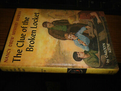 NANCY DREW #11: THE CLUE OF THE BROKEN LOCKET-picture cover/blue end