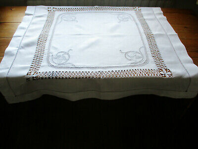 ANTIQUE TABLECLOTH TENERIFE DRAWN THREAD NEEDLEWORK 34