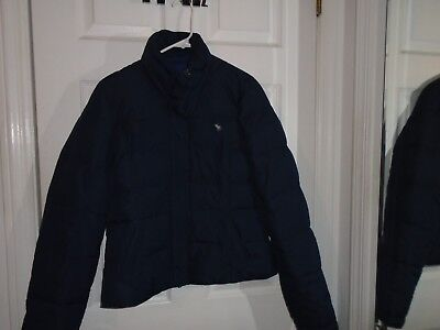 Abercrombie & Fitch Navy Blue Down Puffer Jacket Coat Junior's Size Large