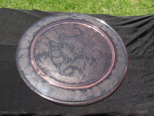 """Pink Macbeth-Evans Thistle 13"""" Thick / Heavy Footed Cake Plate"""