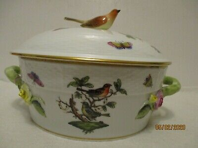 Herend Rothchild Covered Serving Dish with Bird Finial NICE