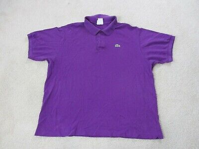 Lacoste Polo Shirt Adult Extra Large Size 8 Purple Green Crocodile Rugby Men A3*