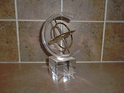 Mid Century Modern Lucite and Metal Cube Art Gyroscope Sculpture